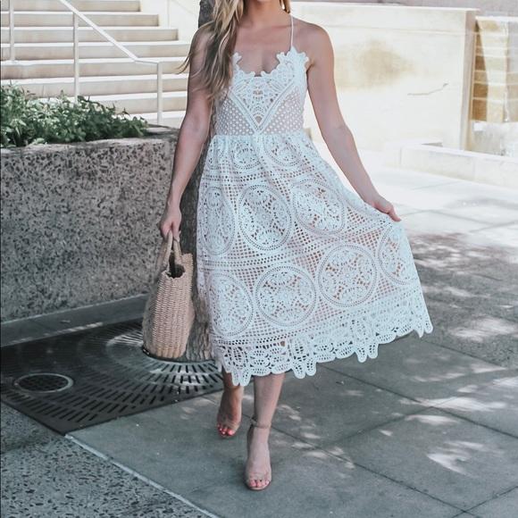Chicwish Dresses   Skirts - Chic Wish White Lace Dress! 60a5437e7